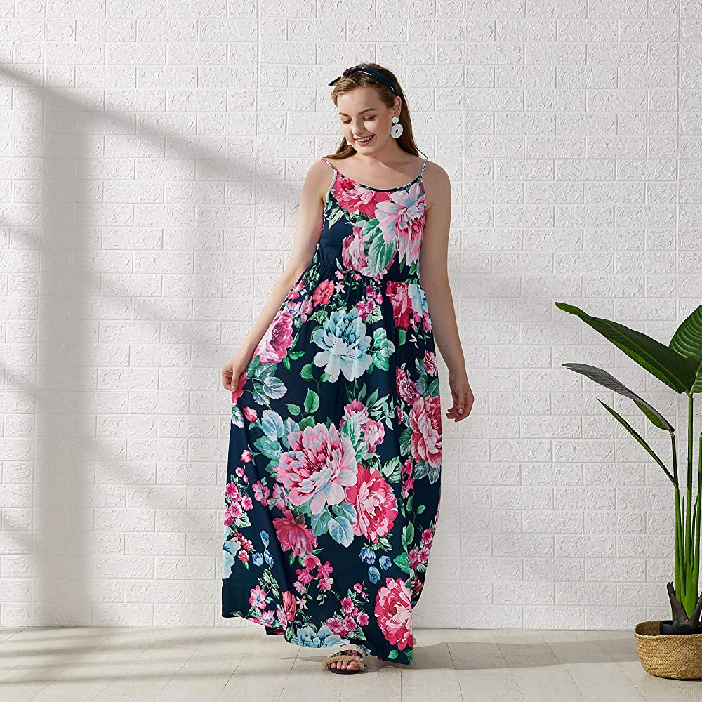 Yaffi Mommy and Me Matching Maxi Dress Spaghetti Strap Summer Floral Printed Casual Sundress Sleeveless Long Dress with Headband