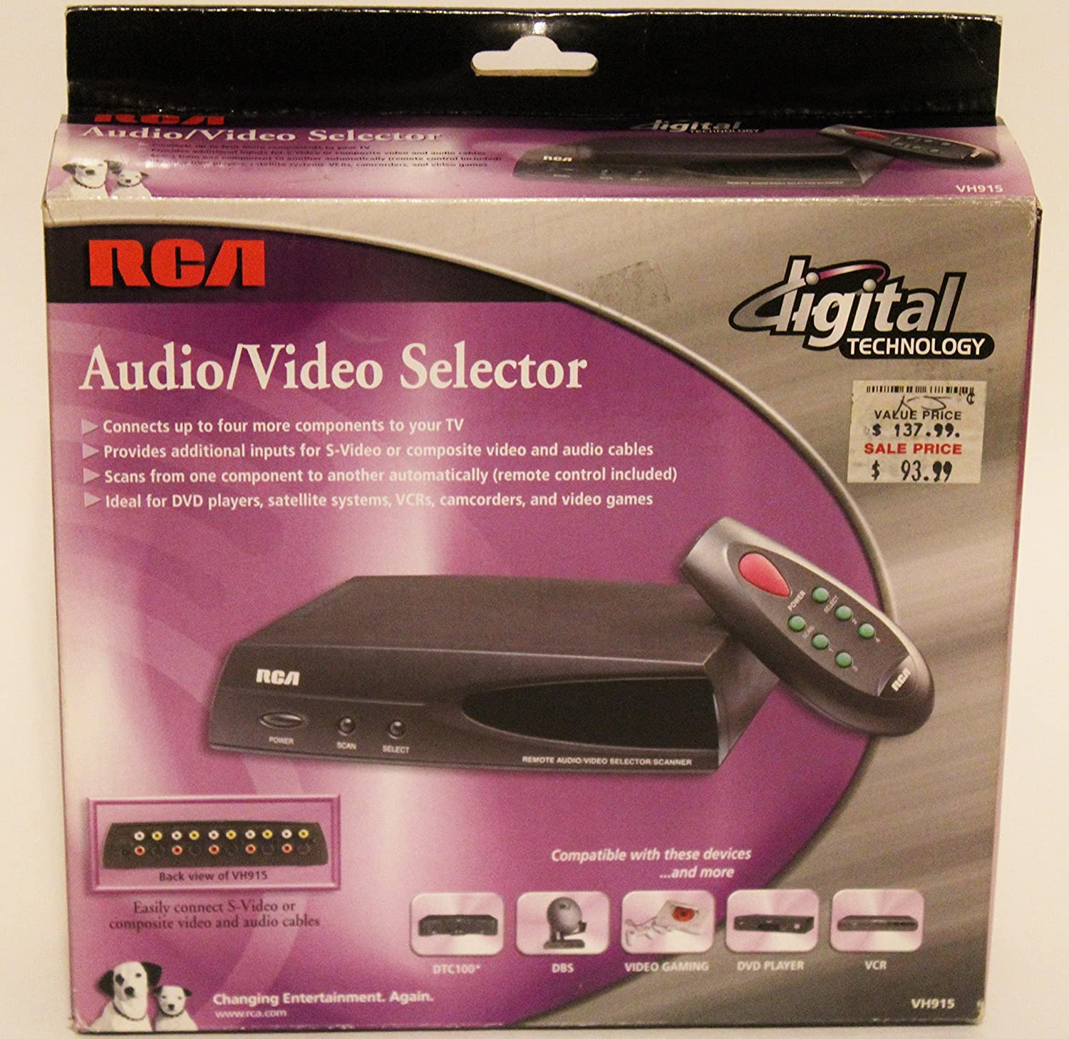 RCA VH915 Audio / Video Source Selector Switch Box (Discontinued by Manufacturer)