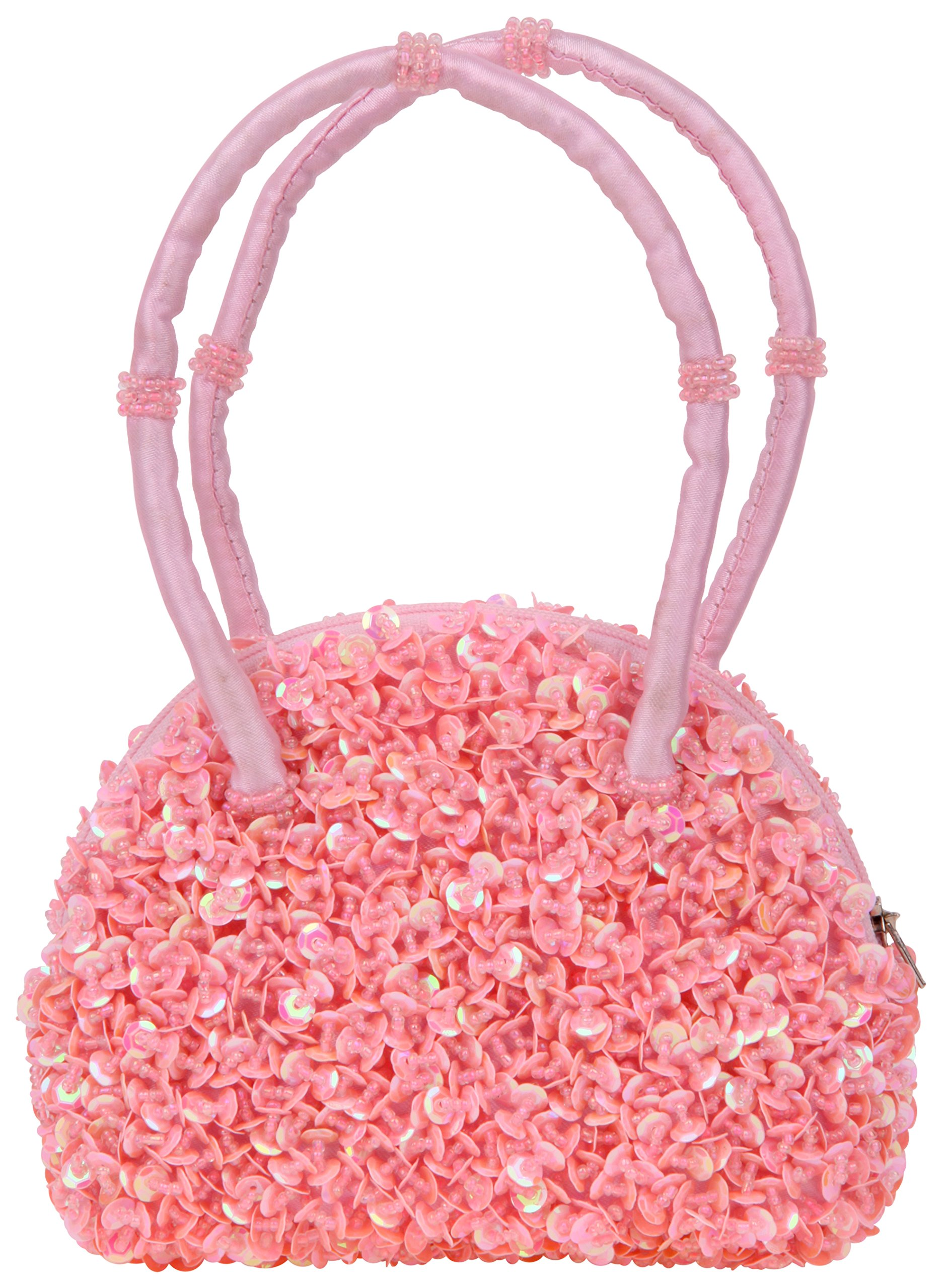 Girl's Sparkly Sequins and Beaded Purse with Hand Strap Light Pink