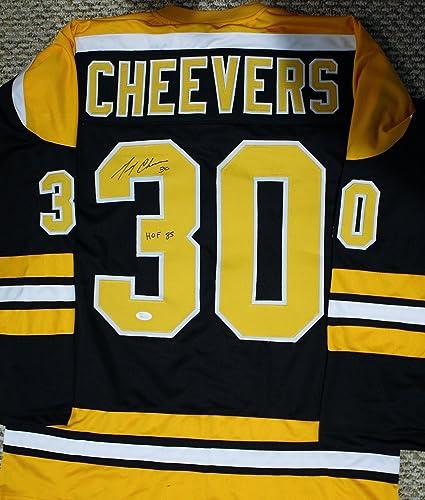 Gerry Cheevers Autographed Custom Boston Bruins Style Jersey w//JSA COA