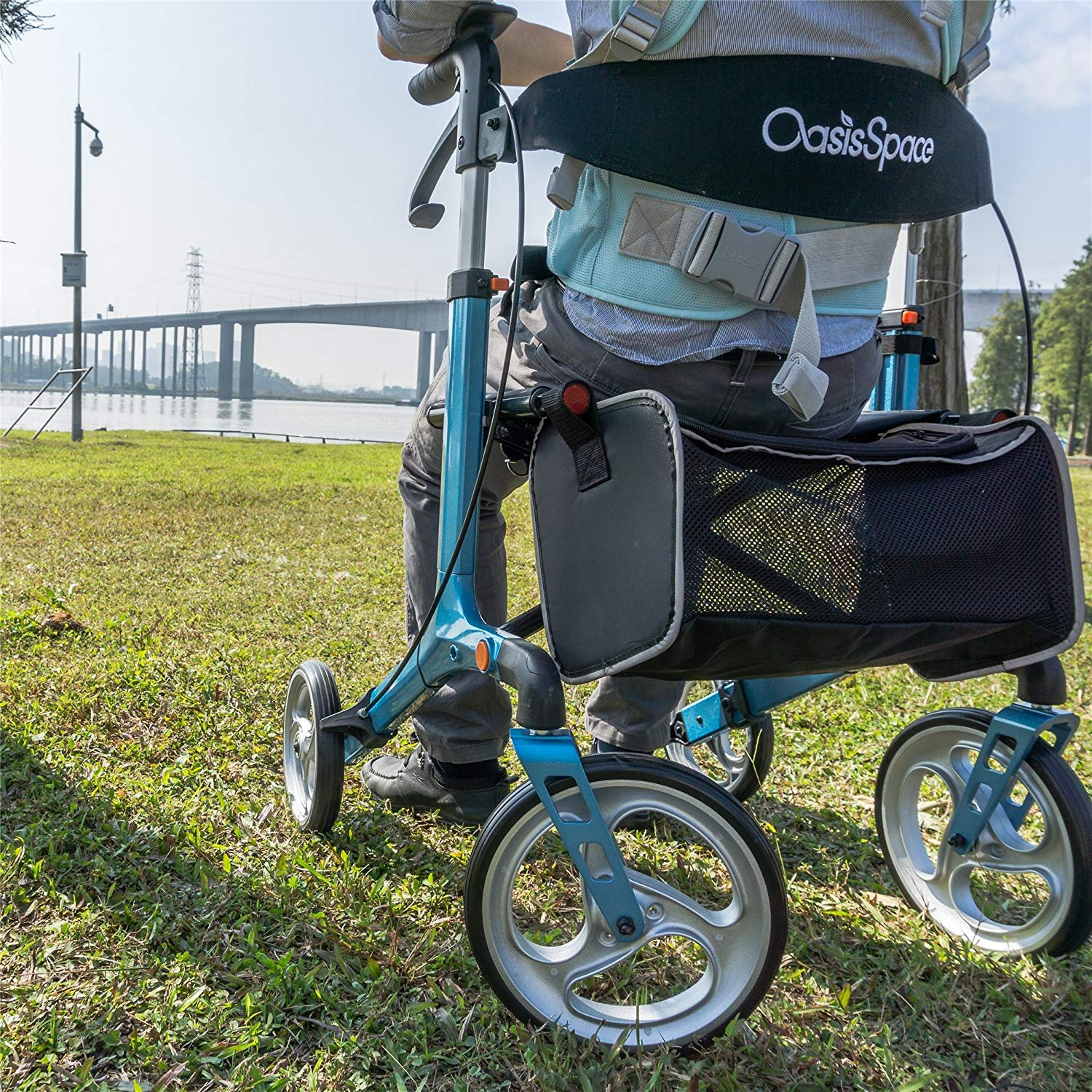 OasisSpace Aluminum Rollator Walker, with 10'' Wheels and Seat Compact Folding Design Lightweight Baking Complimentary Carry Bag (Blue) by OasisSpace