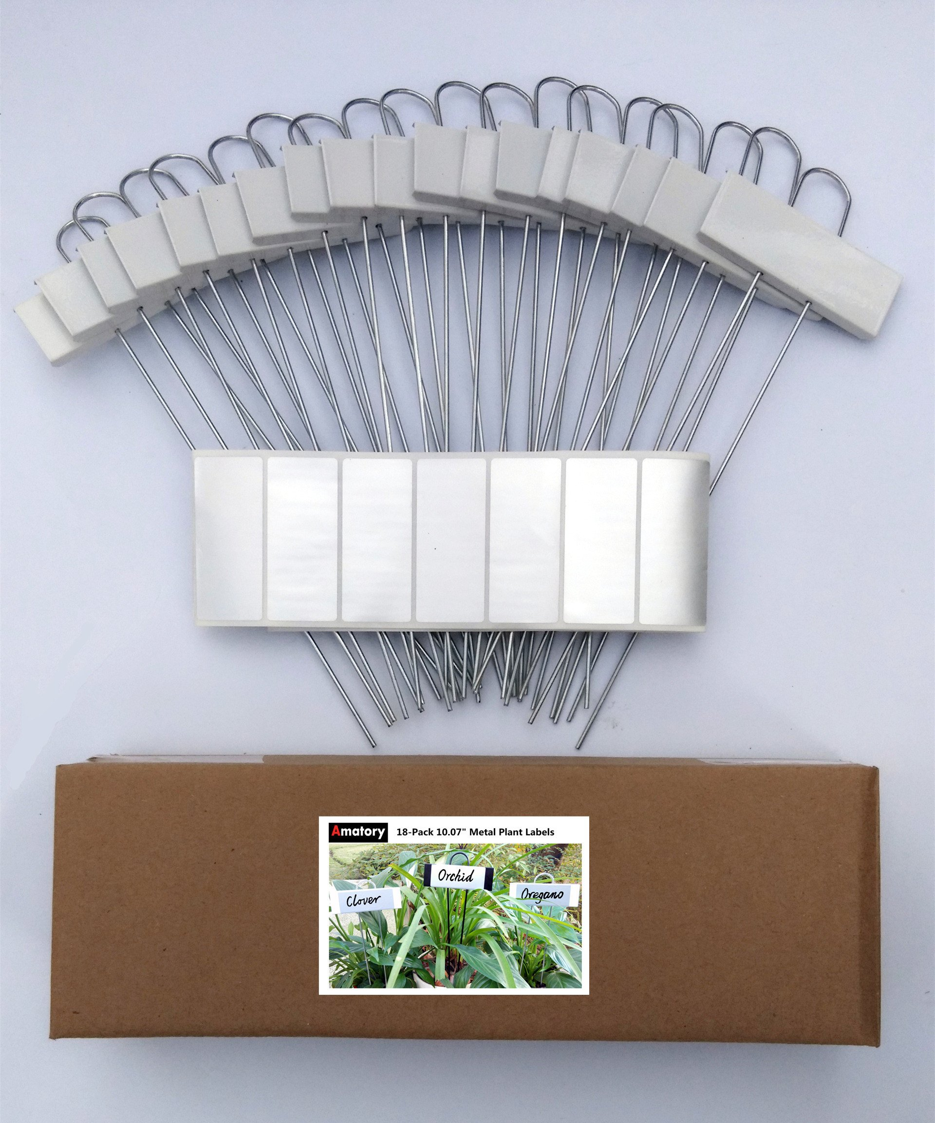 Metal Plant Labels Garden Markers Nursery Tags Reusable Planting Gardening Seedling Labels for Vegetable Herb Flower Greenhouse Set of 18,With 36 Pcs Self-adhesive Polyester Labels (White-10.7'') by Amatory