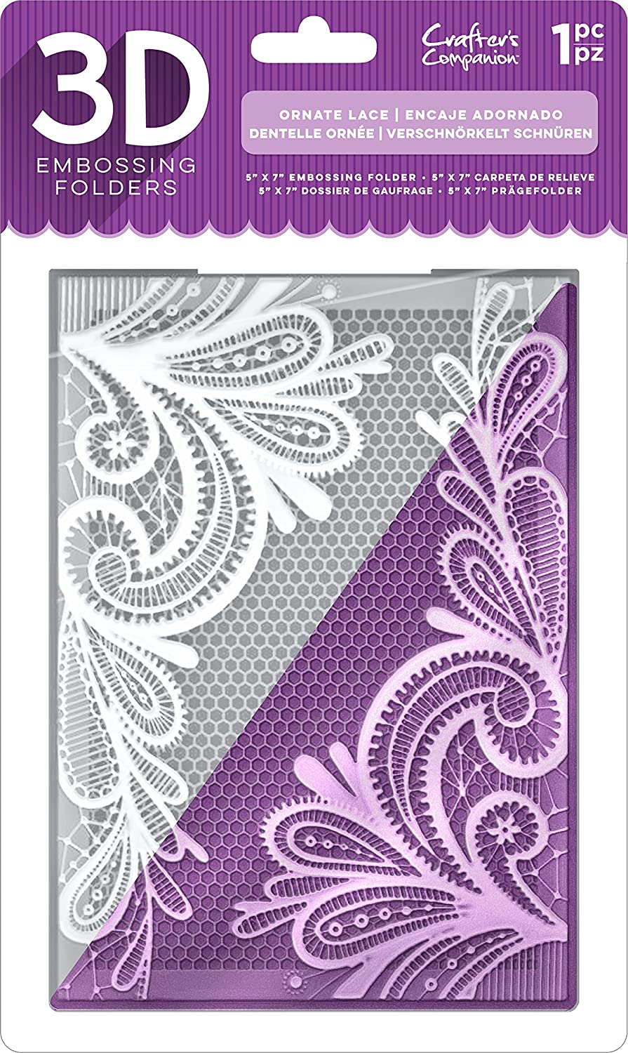 Die'sire EF5-3D-OLACE 3D Embossing Folder, Clear Crafter's Companion