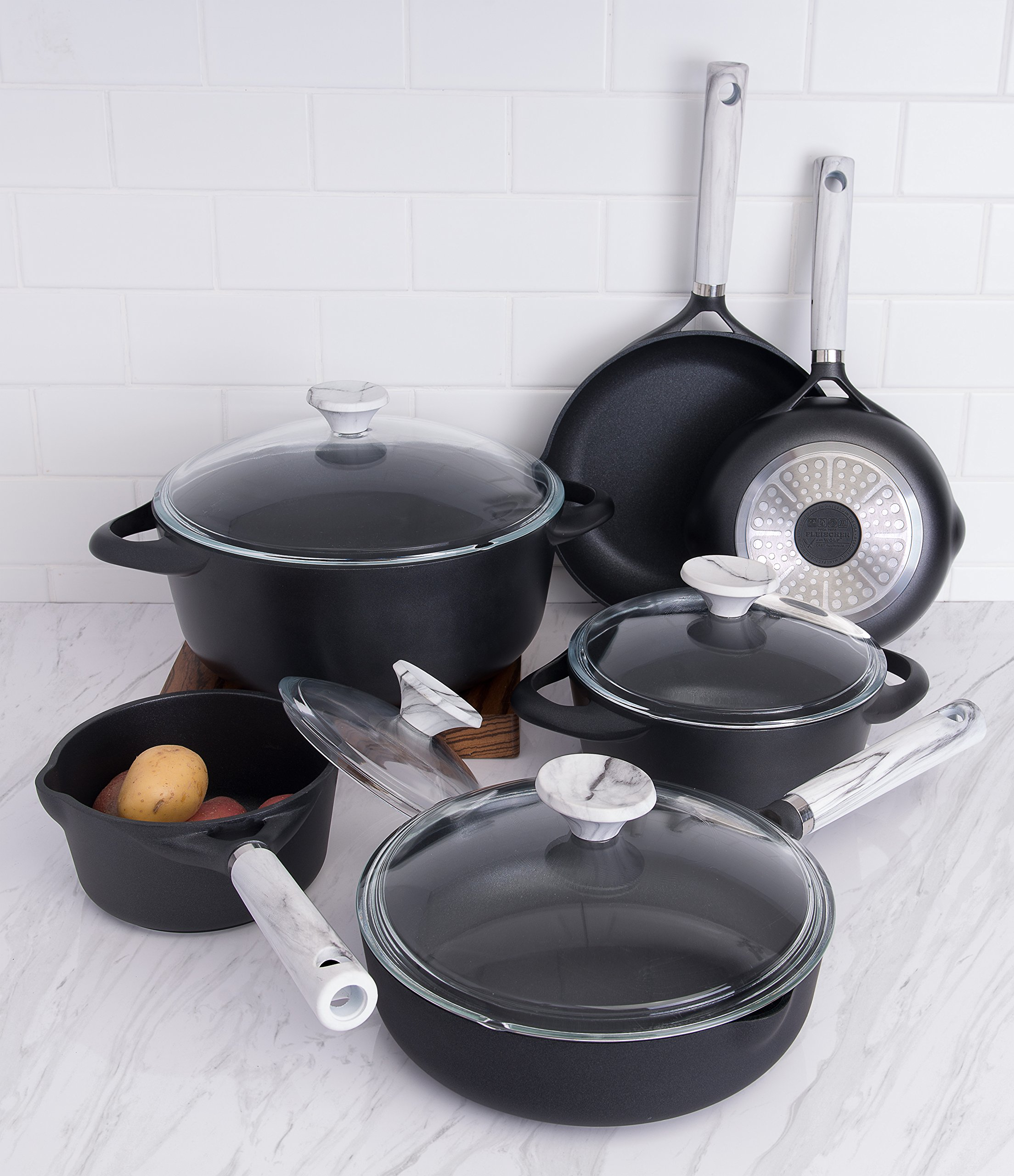 Fleischer & Wolf Athens Series cookware set(10-Piece) - Non-stick Coating in Black Color- Oven and Grill Safe Kitchen Pots and Pans Set--Perfect Christmas Gift