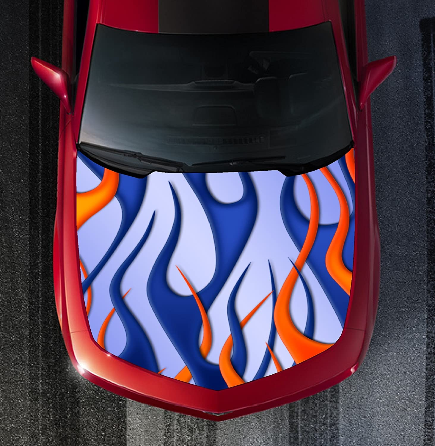 H37 FIRE FLAMES TRIBAL Hood Wrap Wraps Decal Sticker Tint Vinyl Image Graphic