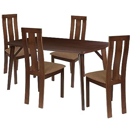 Groovy Amazon Com Flash Furniture Pullman 5 Piece Espresso Wood Frankydiablos Diy Chair Ideas Frankydiabloscom