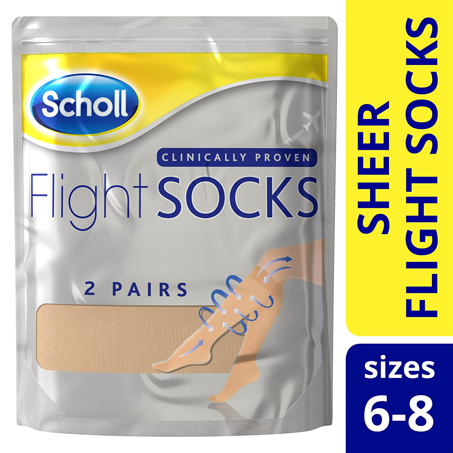 55998a84f1 Scholl Sheer Flight Socks, Size 6-8, 2 Pairs: Amazon.co.uk: Health &  Personal Care