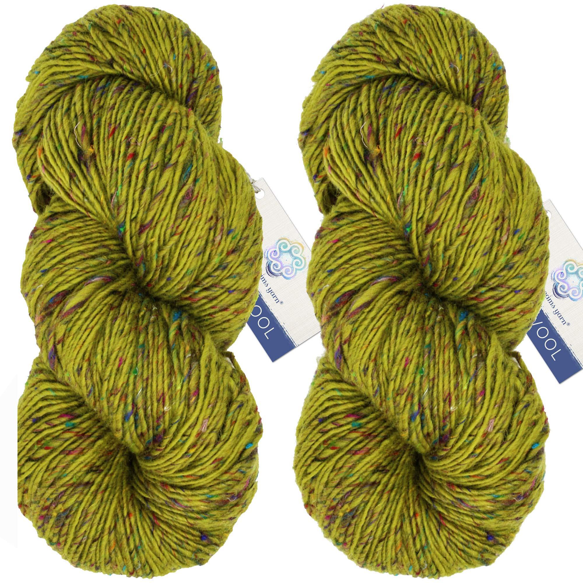 Living Dreams Yarn BOLLYWOOL DK. Super Soft Merino and Sari Silk. Colorful Tweed Yarn with Boho Flair. Homespun in USA. Two Pack, Dakini