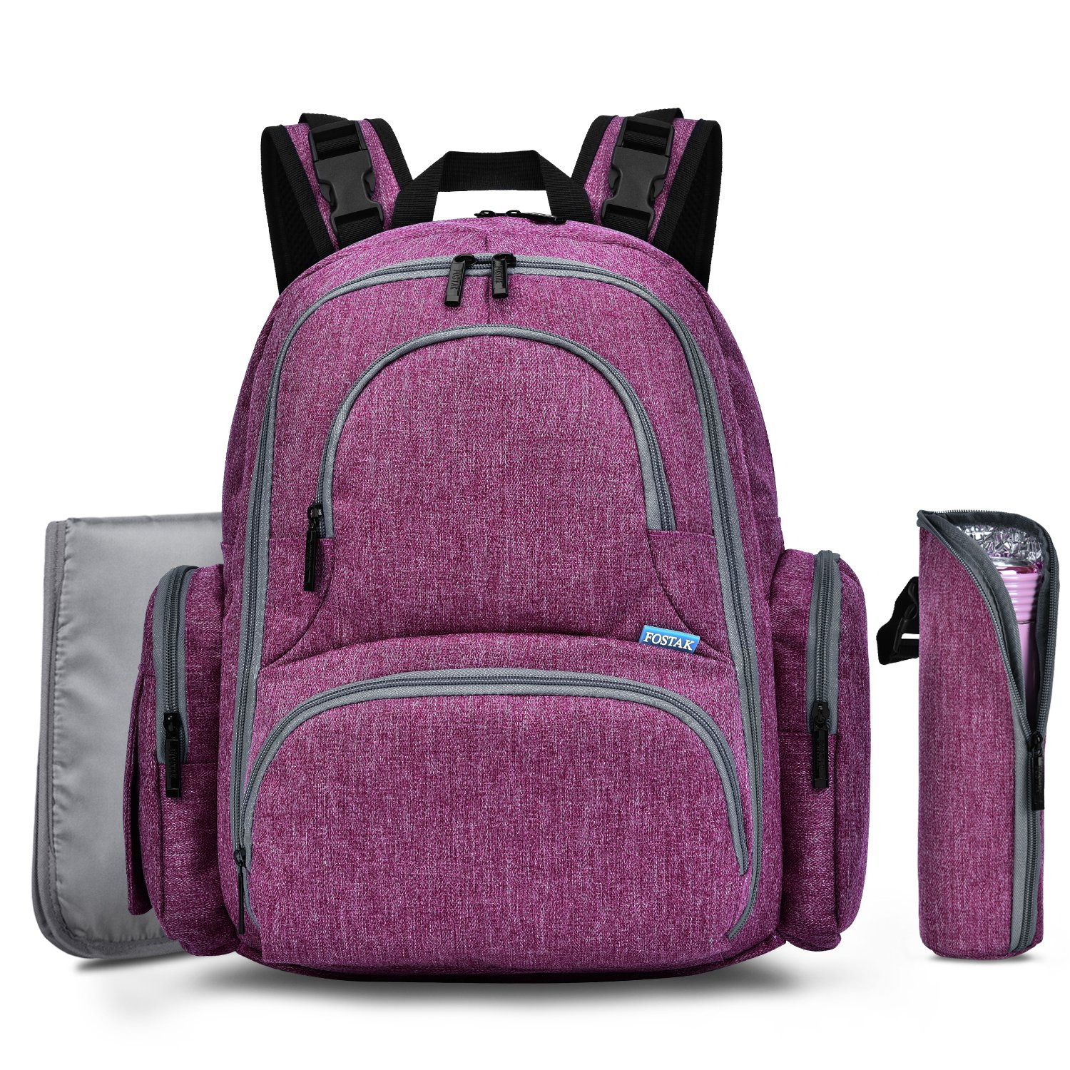 Diaper Bag Backpack for Girls Boys, Large Capacity Moms Dads Nappy Bags Organizer Travel Baby Diaper Backpack w/Stroller Straps, Changing Pad & Insulated Pockets, Multi-Function Durable & Stylish, Purple BRINCH
