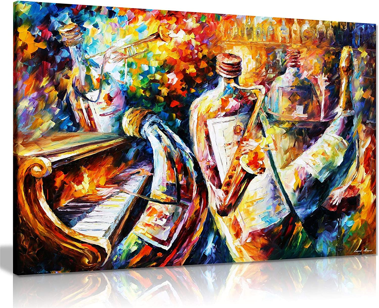 Bottle Jazz by Leonid Afremov Canvas Wall Art Picture Print for Home Decor (24x16)