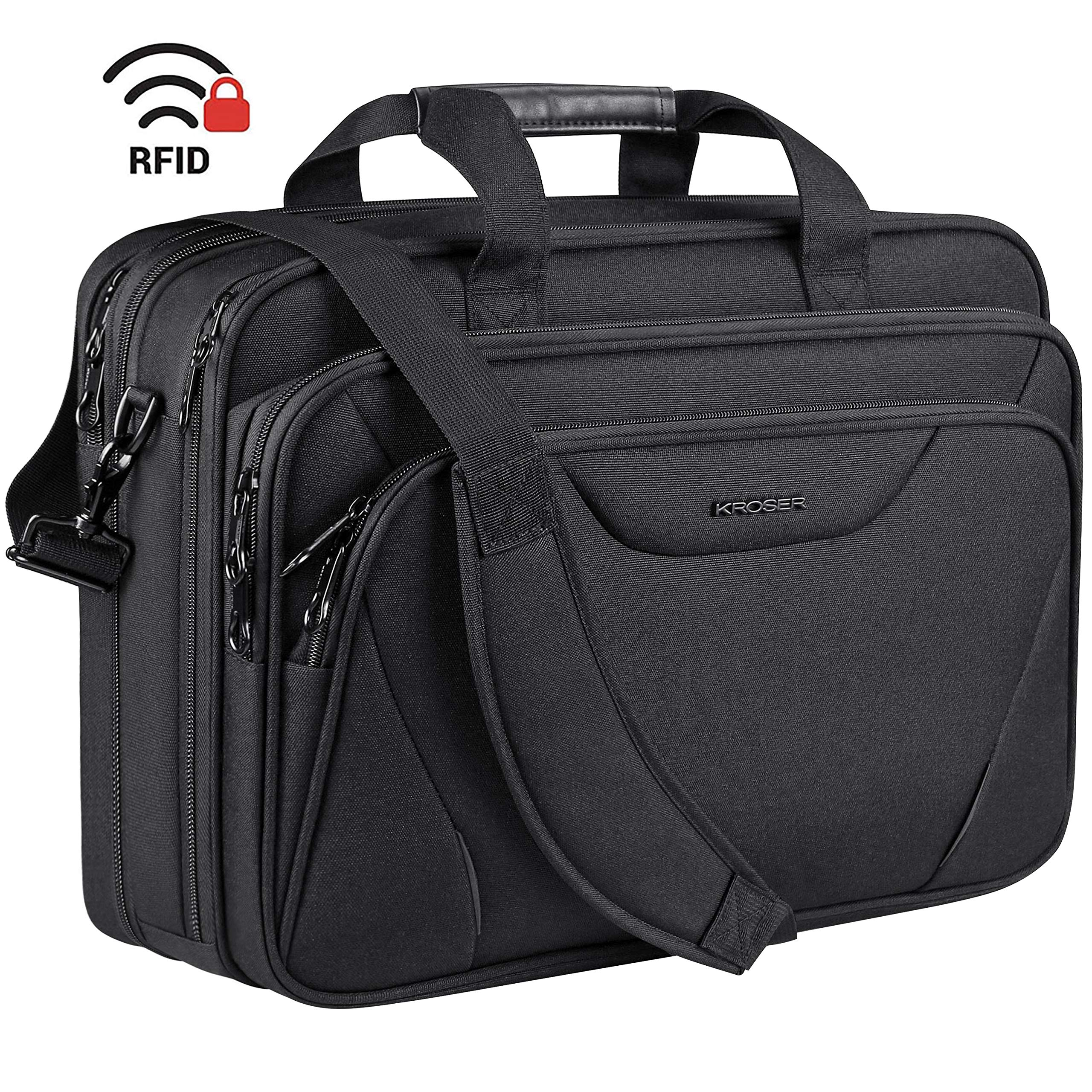 KROSER 18'' Laptop Bag Premium Laptop Briefcase Fits Up to 17.3 Inch Laptop Expandable Water-Repellent Shoulder Messenger Bag Computer Bag for Travel/Business/School/Men/Women-Black