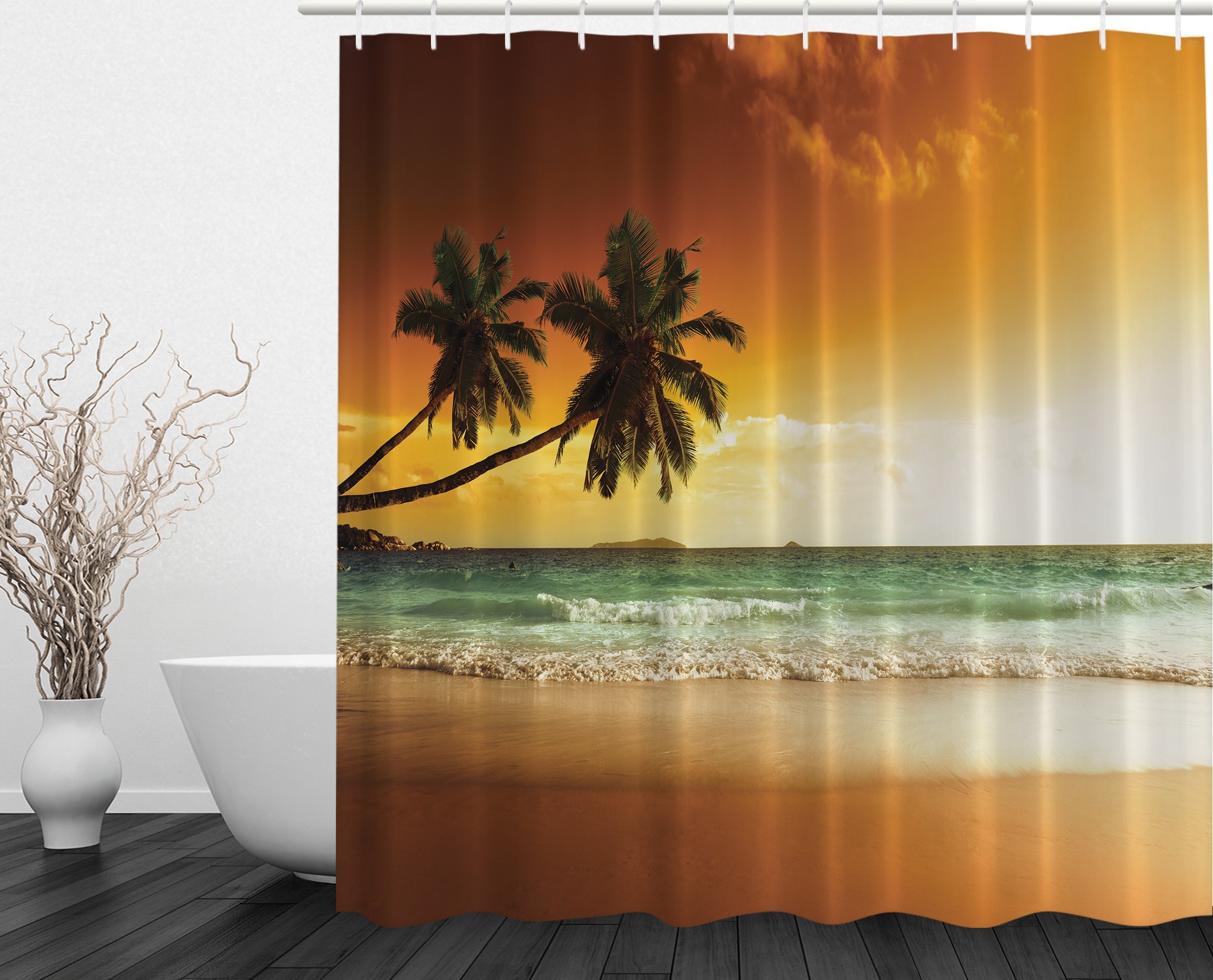 Beach Theme Bathroom Accessories Ocean Scene Shower Curtain Beach ...