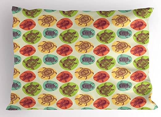 Turtle Pillow Sham Decorative Pillowcase 3 Sizes Bedroom Decor Ambesonne