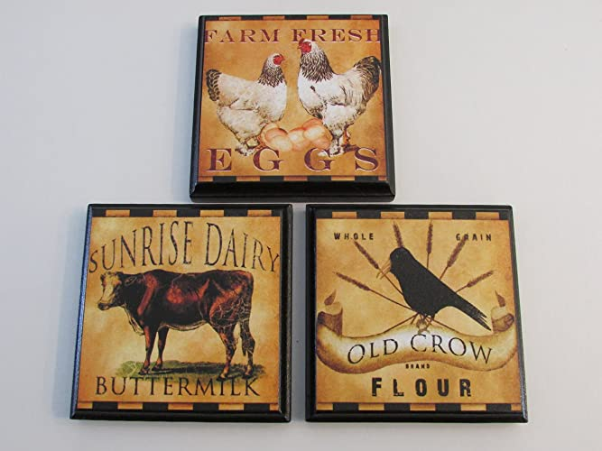 Farm House Kitchen Wall Plaques   Set Of 3 Retro Farm House Kitchen Decor    Retro