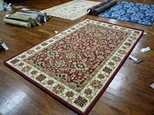 Safavieh Chelsea Collection HK157A Hand-Hooked Red and Ivory Premium Wool Area Rug (3'9