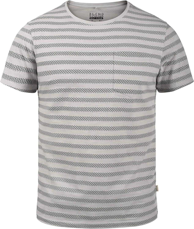 BLEND Ilmari Camiseta De Rayas Básica De Manga Corta para Hombre con Cuello Redondo De 100% algodón: Amazon.es: Ropa y accesorios