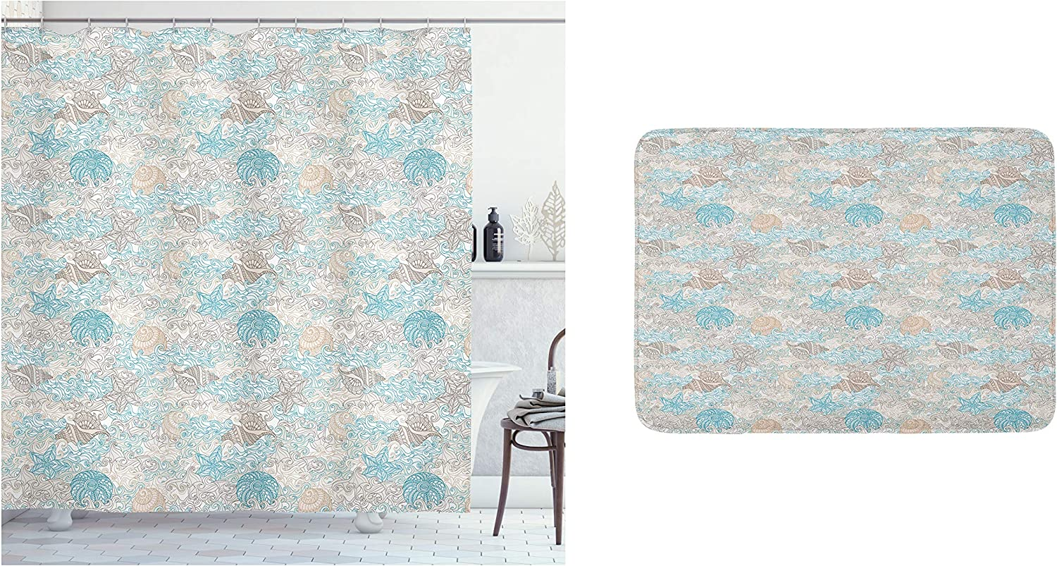 Ambesonne Nautical Shower Curtain & Bath Mat Bundle, Pastel Toned Sea Shell Starfish Mollusk Seahorse Coral Reef Motif Design, Set of 2 with a Bathroom Drape and Plush Mat for Decor, Tan Turquoise