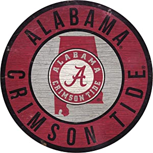 """Fan Creations NCAA Alabama Crimson Tide 12"""" Circle with State and Team Logo Wood Sign"""