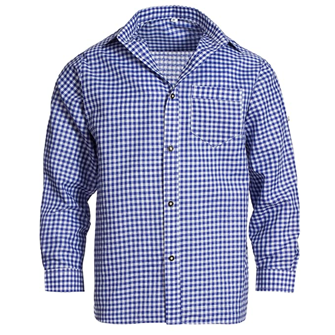 Gaudi Leathers Camisa de traje típico bávaro/tirolés para hombre con mangas remangables, de cuadros