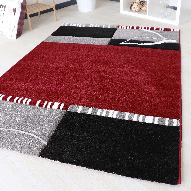 Mynes Home Designer Teppich Modern in Rot kariert Floral mit Blumen Muster für Wohnzimmer mit Öko-Tex Konturenschnitt Webteppich (120cm x 170cm)