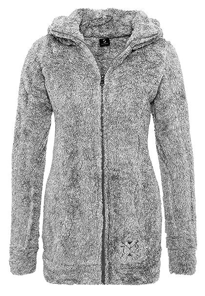 Sublevel Abrigo de Mujer de Tela Peluche | Abrigo Largo de Forro Polar con Cuello Alto Gris Oscuro S