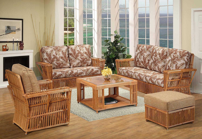 Amazon Com Kingrattan Com Rattan 5 Piece Living Room Furniture Sofa Set Kitchen Dining