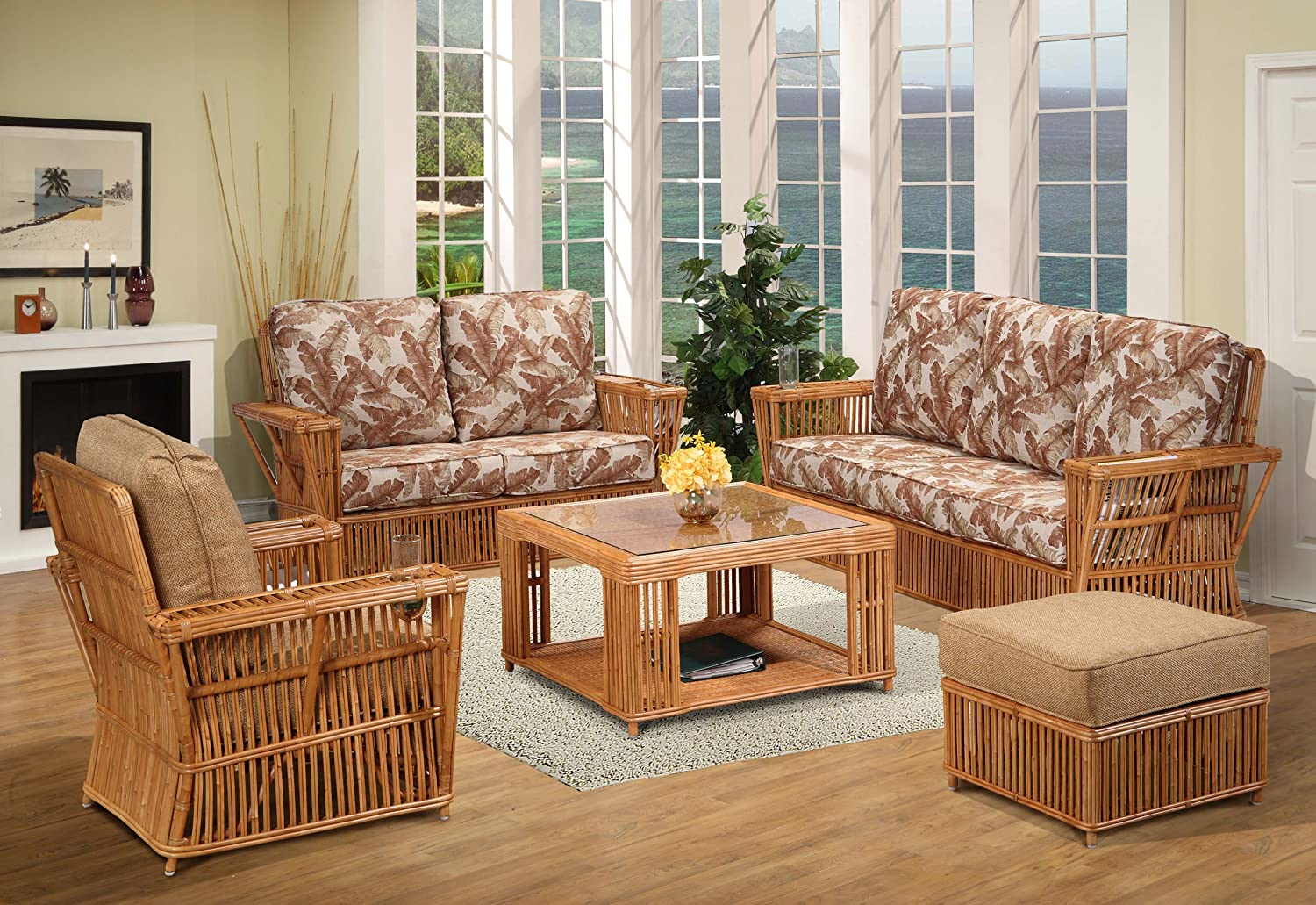 Amazon Com Kingrattan Com Rattan 5 Piece Living Room Furniture Sofa