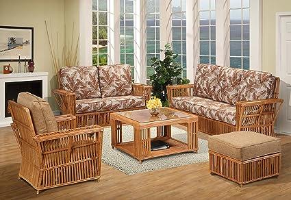 Amazon.com: kingrattan.com Rattan 5 Piece Living Room ...