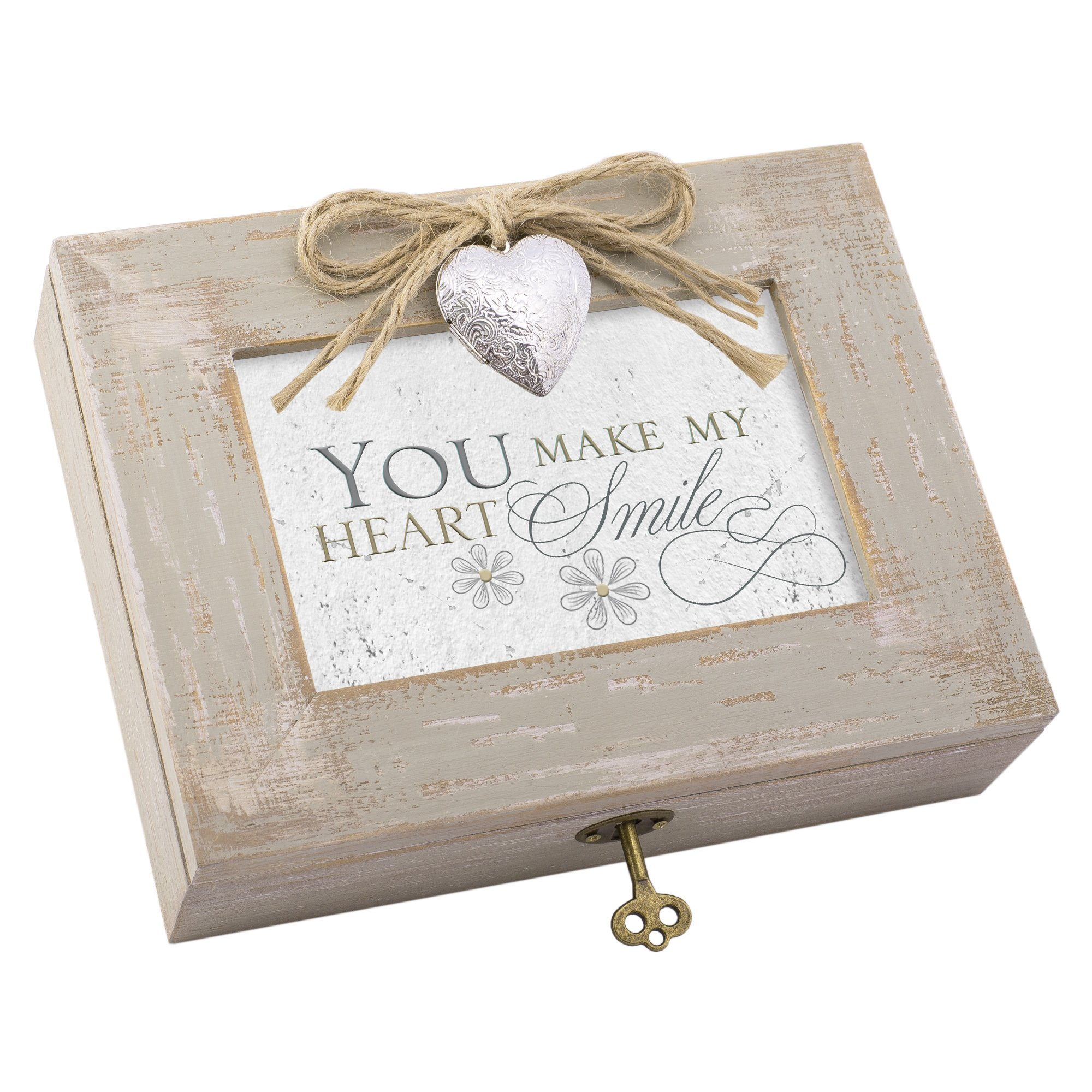Cottage Garden You Make My Heart Smile Distressed Wood Locket Jewelry Music Box Plays Tune You Light Up My Life by Cottage Garden (Image #1)