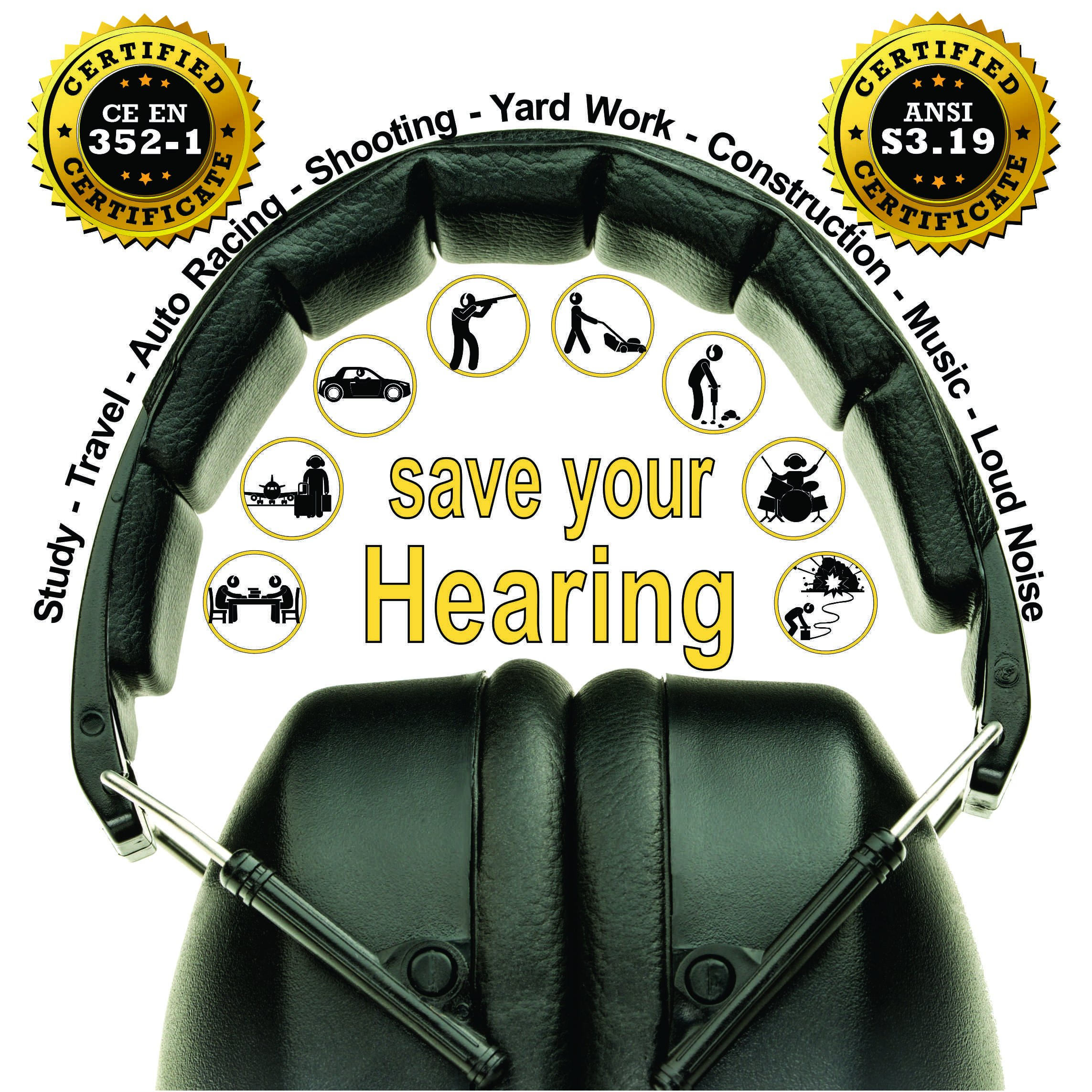 ClearArmor 141001 Shooters Hearing Protection Safety Ear Muffs Folding-Padded Head Band Ear Cups, Black by ClearArmor (Image #4)