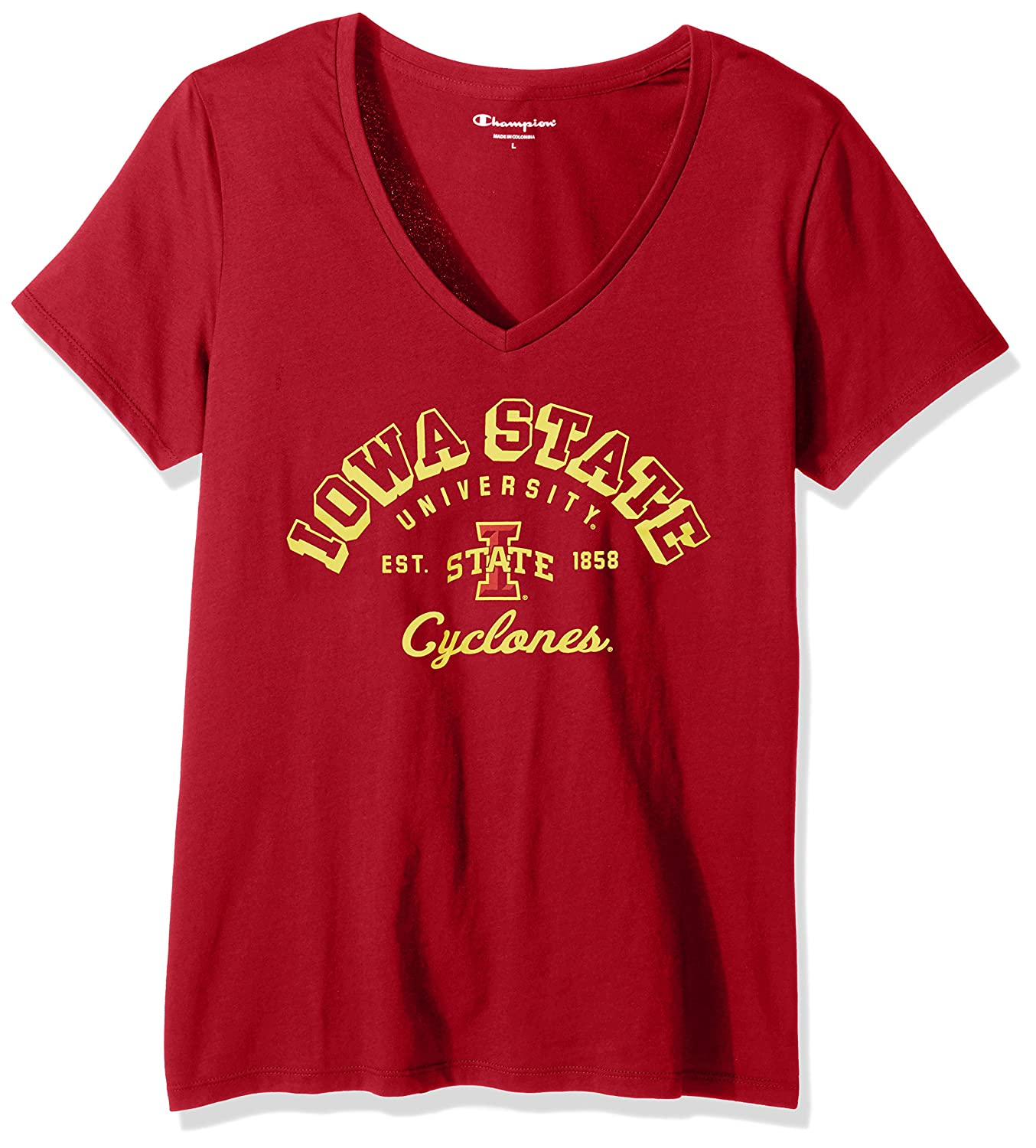 Champion NCAA Womens University Short Sleeve Tagless V-Neck Tee Iowa State Cyclones X-Small