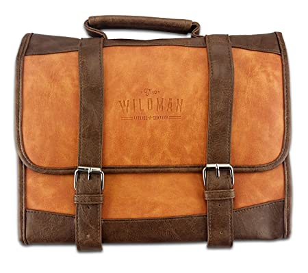 401eb76ea432 Toiletry Bag for Men - Hangable Wash Bag, Travel Accessories Bag, One Size,  Luxurious, Folding and Spacious by Wildman™ (Brown)