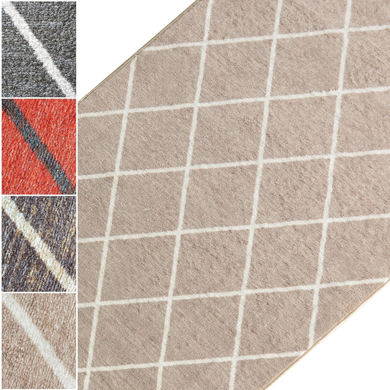 Teppichläufer Cosenza | Rauten Muster im Retro Look | viele Größen | moderner Teppich Läufer für Flur, Küche, Schlafzimmer | Niederflor Flurläufer, Küchenläufer | beige Brei