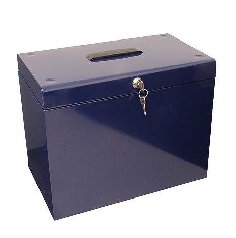 Caja archivadora de metal, tamaño A4, color azul