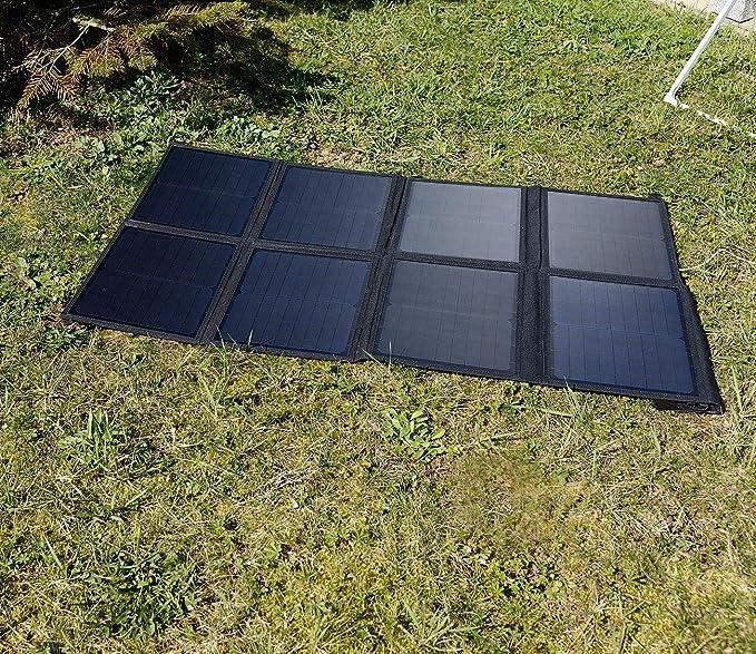 100 Watt 8 monokristalline Solarzellen Solar Camping reVolt Solartasche: Mobiles faltbares Solarpanel