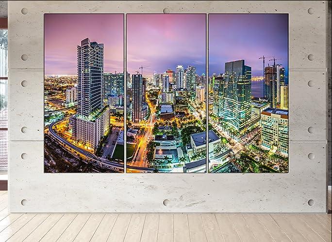 Amazon.com: Miami, Florida skyline canvas Miami, Florida wall art ...
