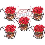"NAYAB Iron Heart Design Hanging Baskets Flower Pot Plant Stand Holder Without Pots for Railing Fence Balcony Garden Home Indoor Outdoor (Set of 5 Basket- 8"" X 6"")"