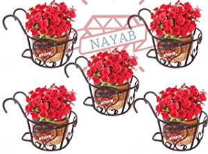 NAYAB HANDICRAFTS Iron Art Hanging Baskets Flower Pot Holder Without Pots for Railing Fence Balcony Garden Home Decoration - Set of 5