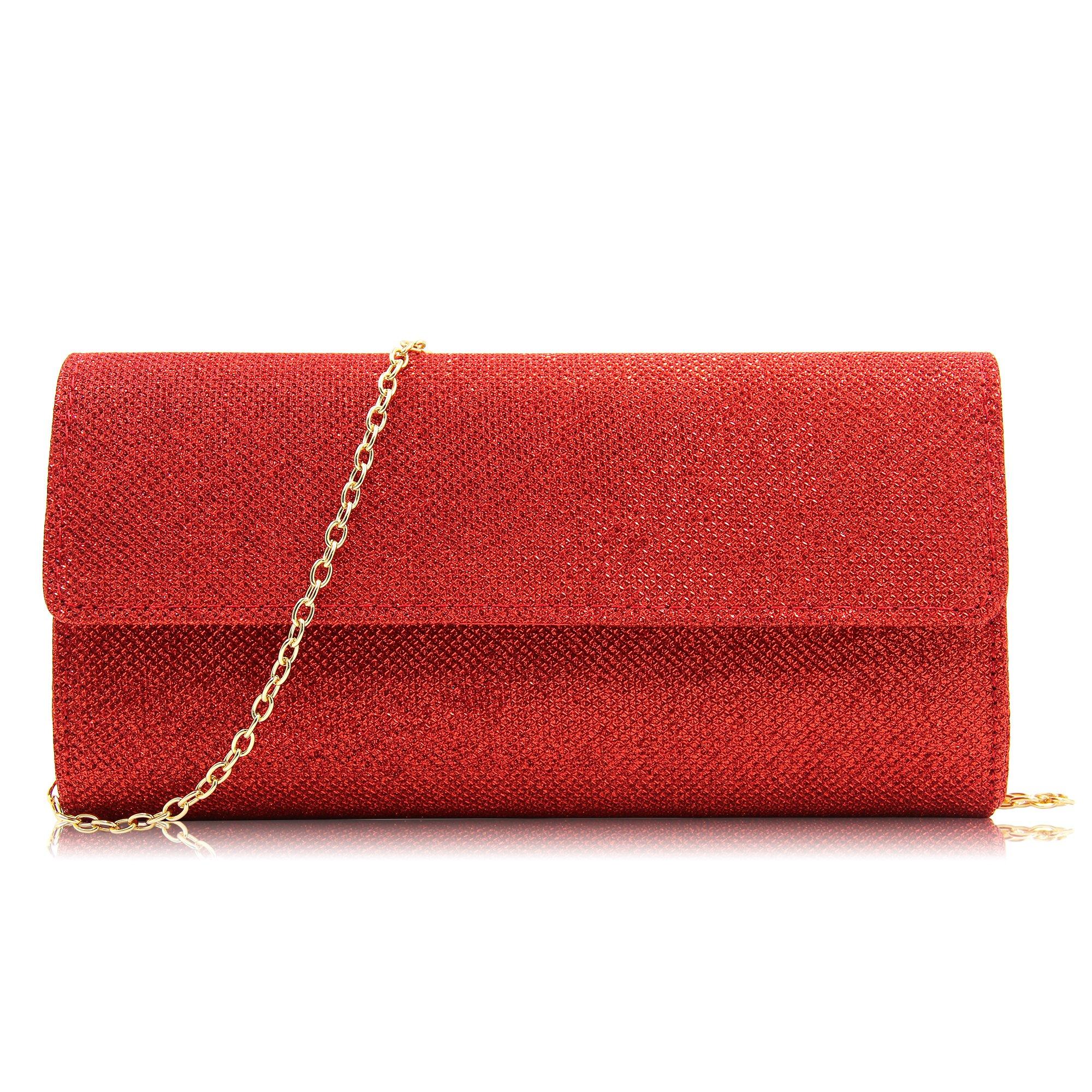 Milisente Women Clutches Elegant Sequins Evening Bag Chain Clutch Purse (Red)