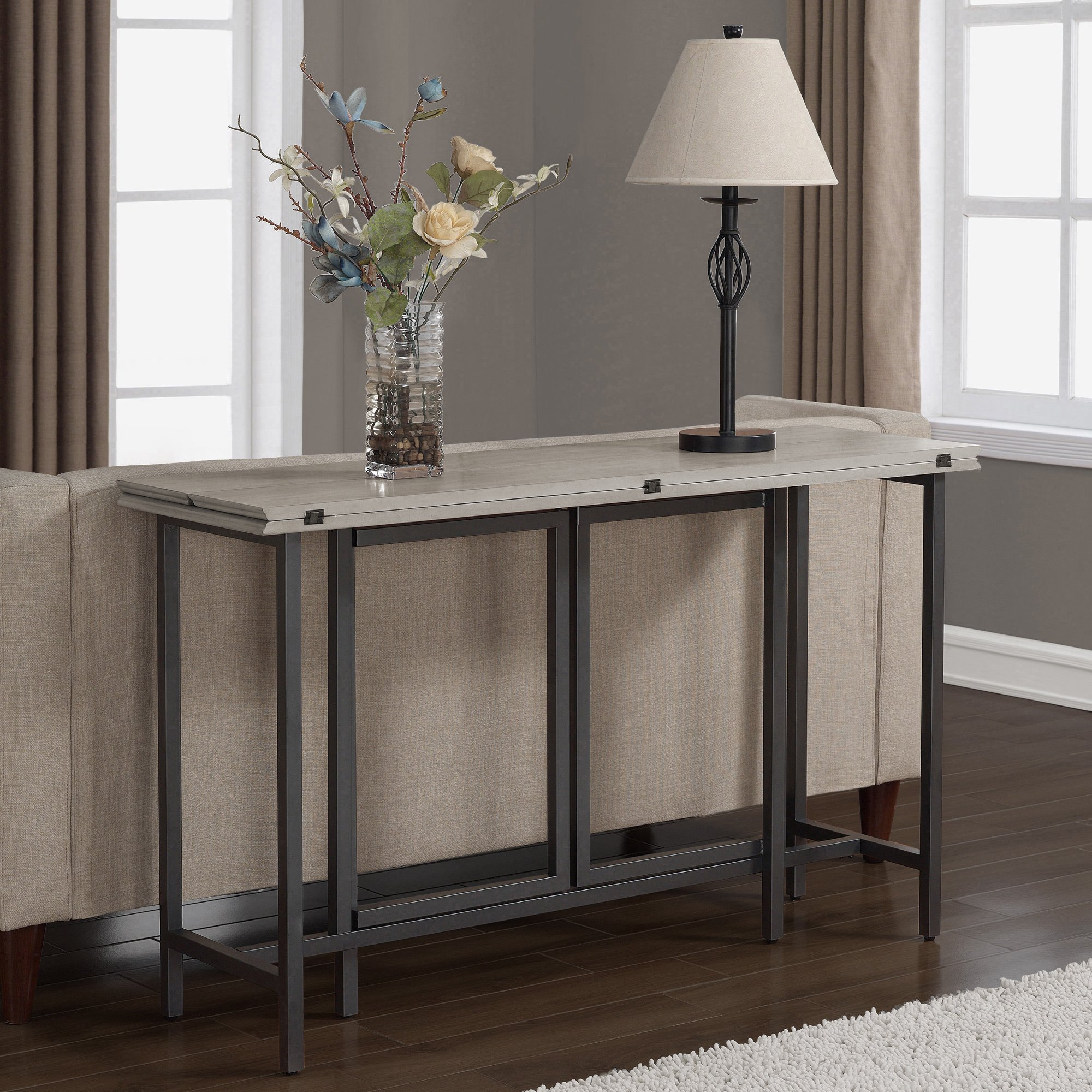 Convertible Dining Table Wood Contemporary Expandable Home Console Kitchen Table by I Love Living (Image #6)