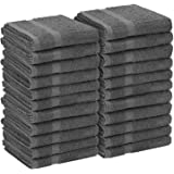 Utopia Towels Salon Towels, 24 Pack (Not Bleach Proof, 16 x 27 Inches, Grey) Hand Towels, Gym Towels