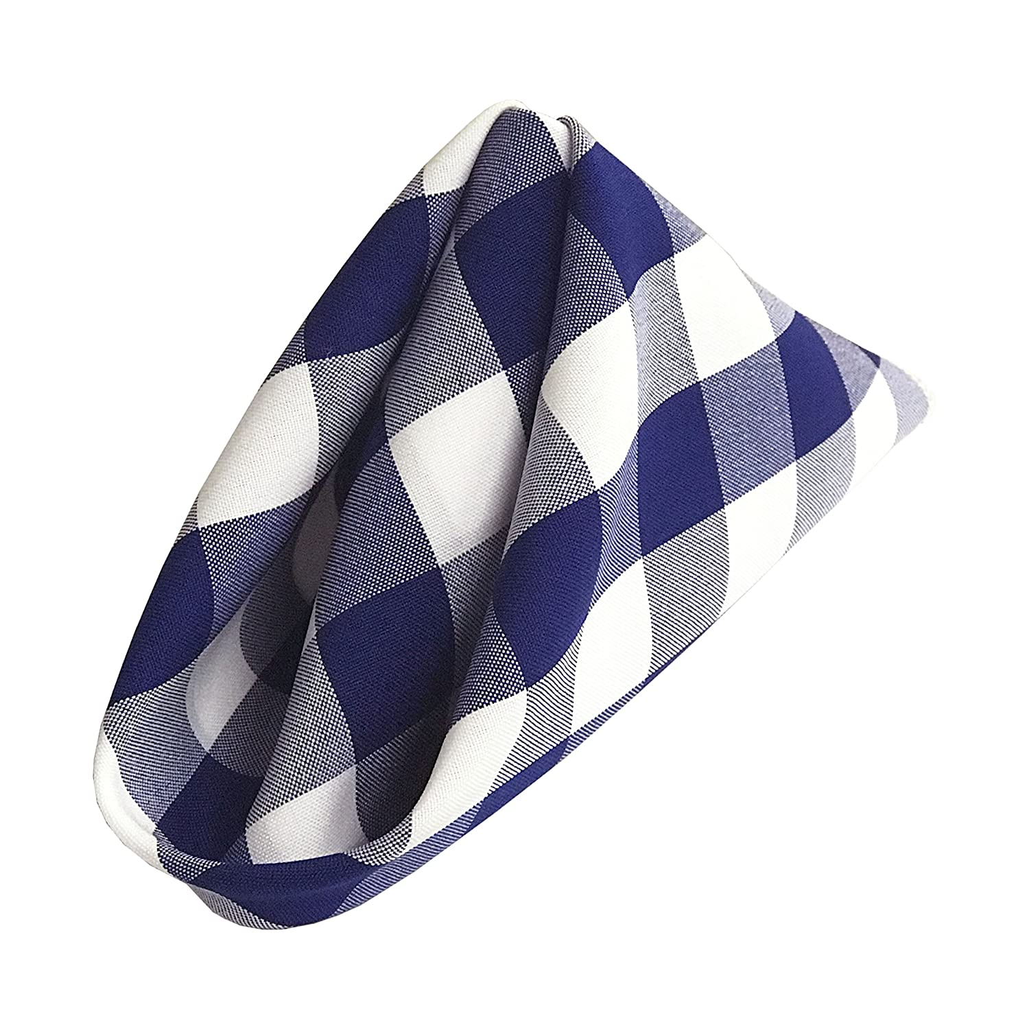 LA Linen 18 by 18 Polyester Checkered Napkins/Pack of 10 / White & Royal Blue 1818checkryl