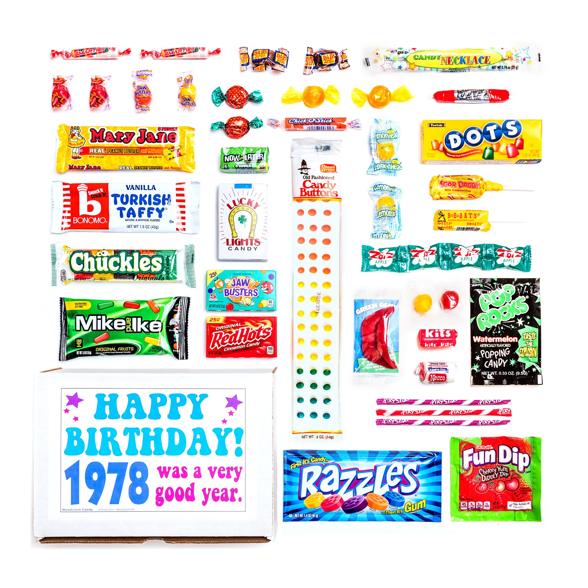 Woodstock Candy 1978 40th Birthday Gift Box Nostalgic Retro Assortment From Childhood For 40 Year Old Man Or Woman Born Jr Chocolate