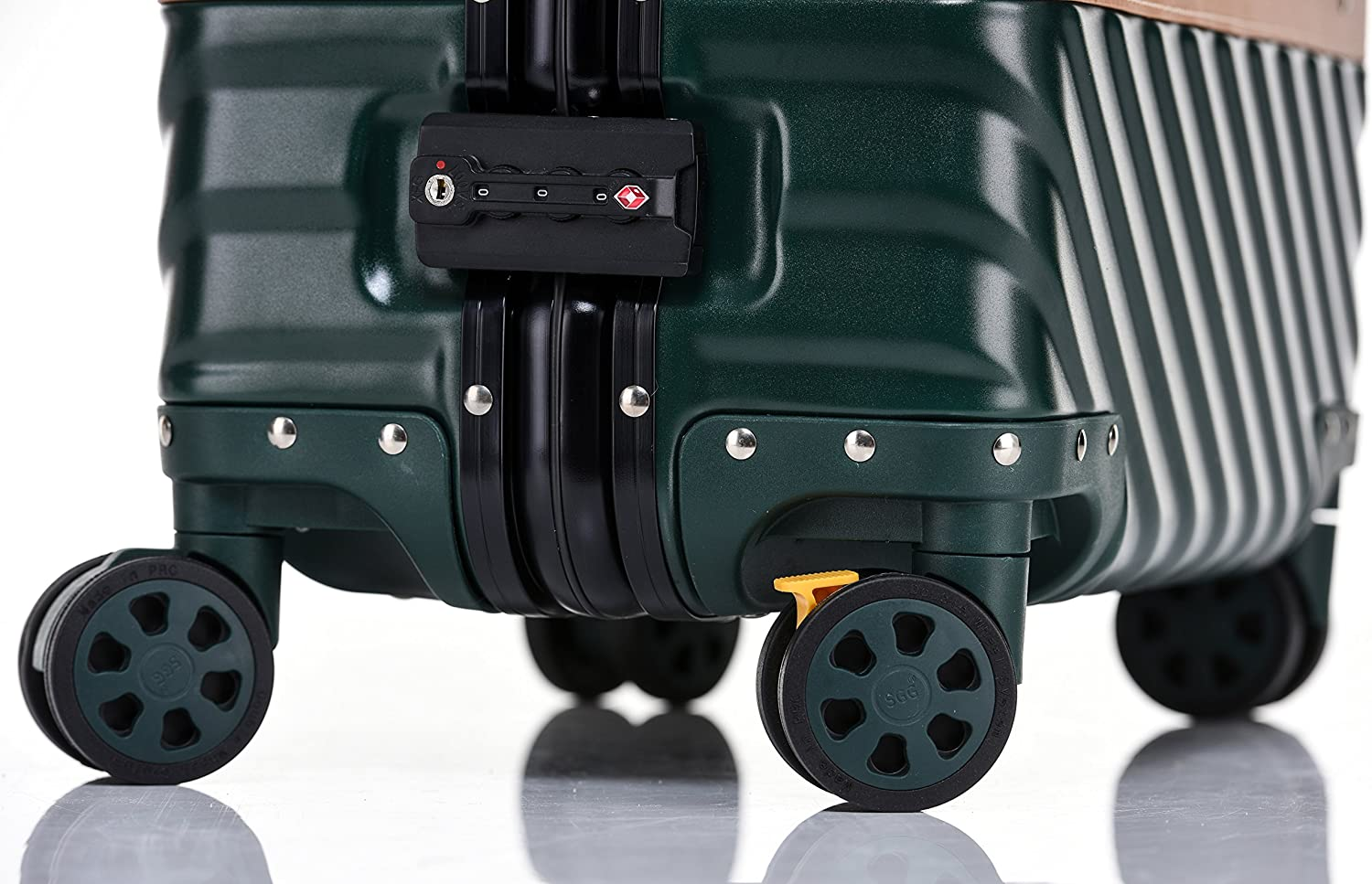 Aluminum Frame Hardside Suitcase with Detachable Spinner Wheels 20 Inch Rose Gold Travel Luggage