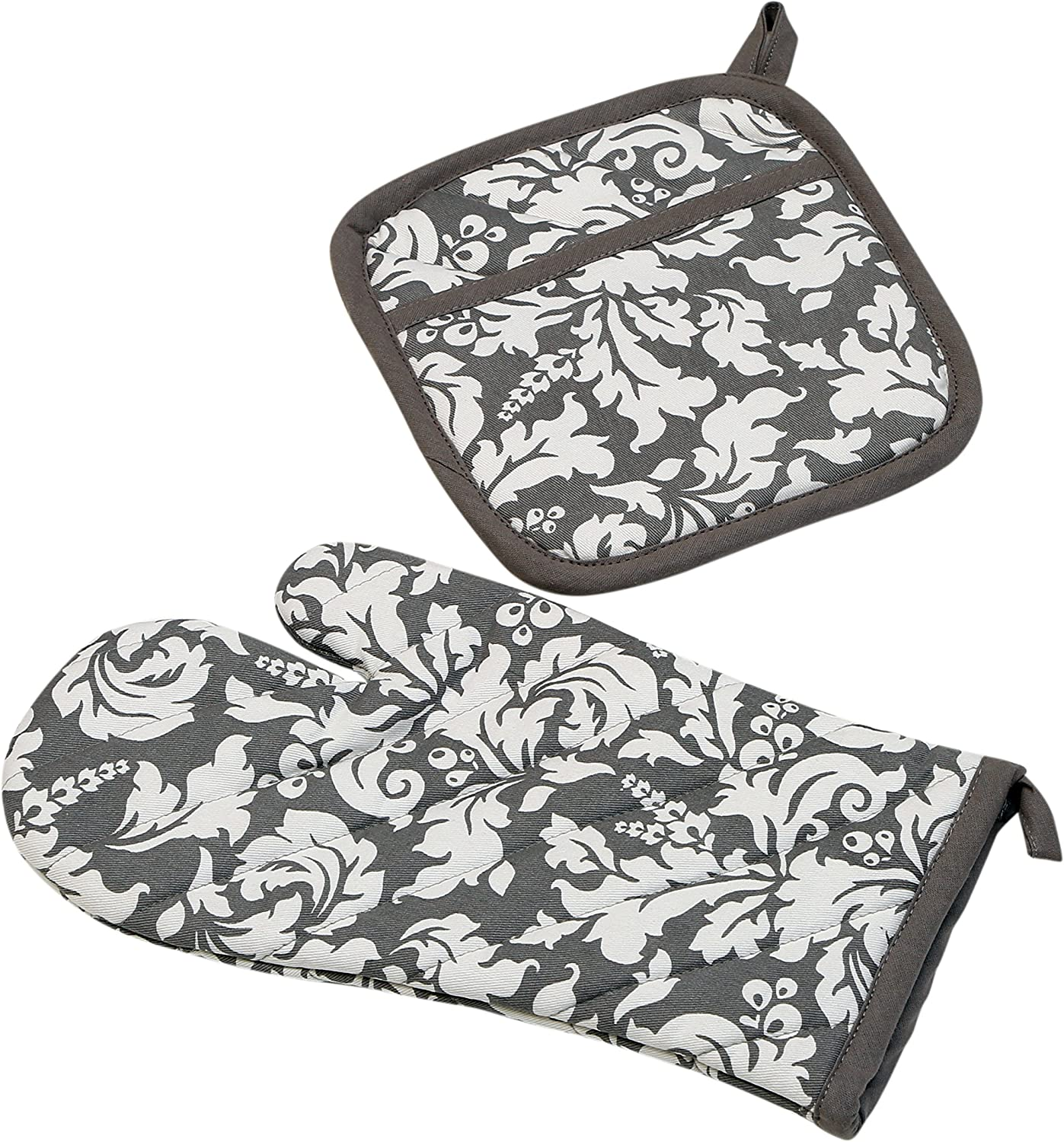 Yourtablecloth Set of Oven Mitt and Pot Holder or Oven Gloves – 100% Cotton, High Heat Resistance, Superior Protection & Comfort – Elegant Design – Machine Washable-Gray