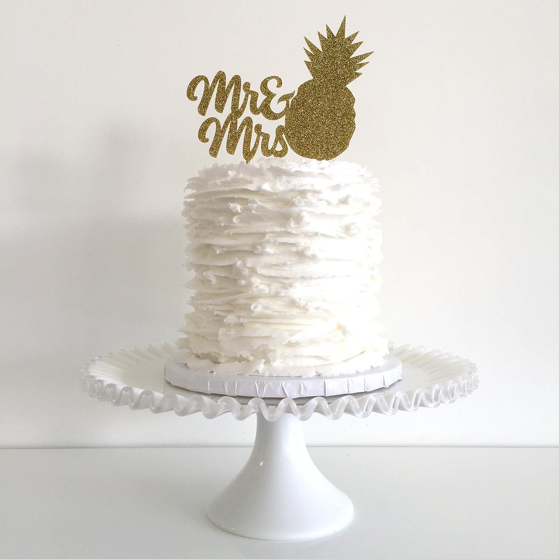 Amazon.com: Mr & Mrs Pineapple Gold Glitter Wedding Cake Topper ...