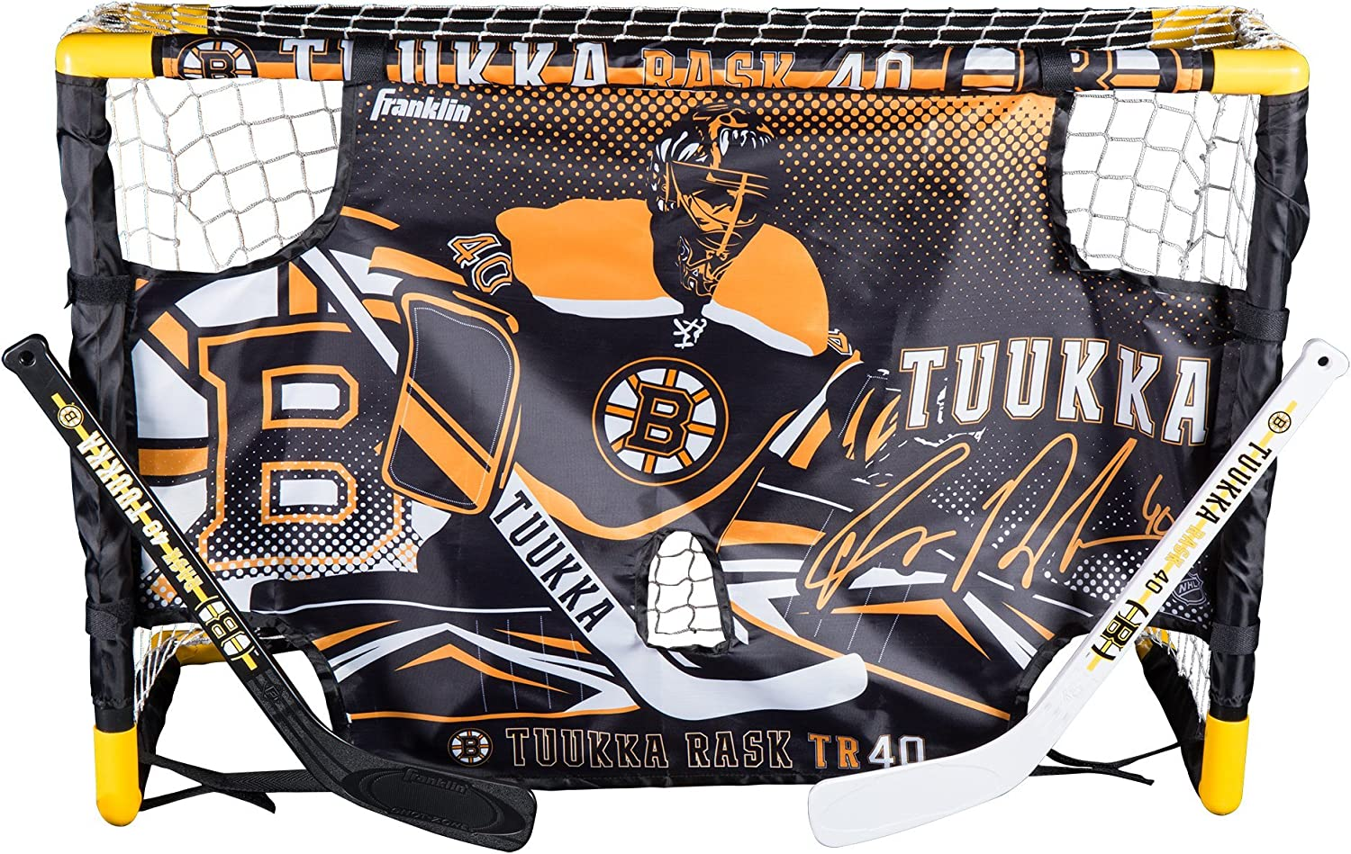 Franklin Sports Tuukka Rask Tuukka Rask Mini Hockey Knee Hockey Goal, Mini Stick, Target & Ball Set - NHL Official Licensed Product : Sports & Outdoors