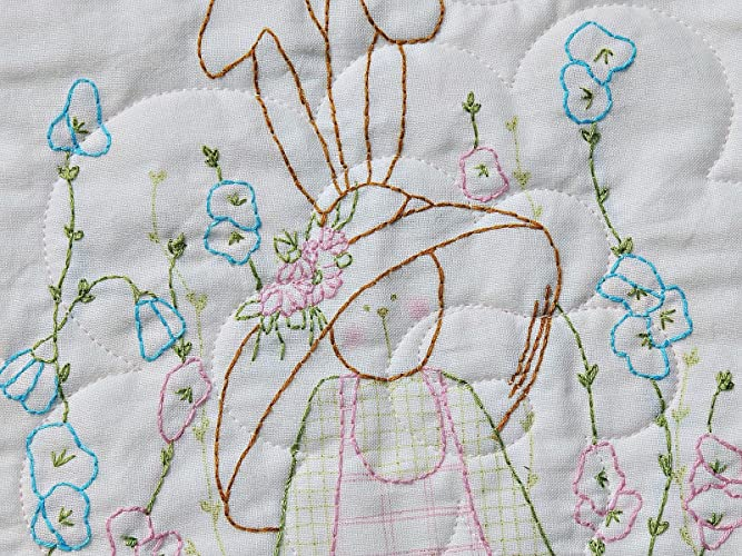 Amazon Hand Embroidered Rabbit Baby Girl Quilt Ivory Minky