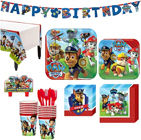 Paw Patrol Birthday Party Kit Includes Happy Banner And Candles Serves 16