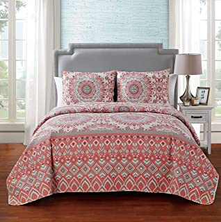 VCNY Home Lucia 5 Piece Reversible Floral Quilt Set King Multi1